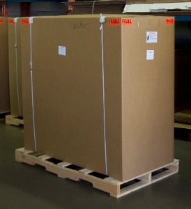 Box packaged on pallet for freight shipment.