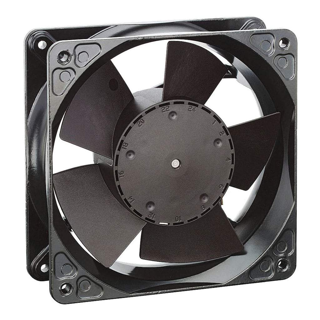 Closeup of 4inch tubeaxial fan with 5 blades. White background