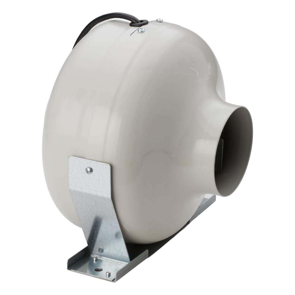 4inch Inline Vortex fan from a diagonal angle. White background.