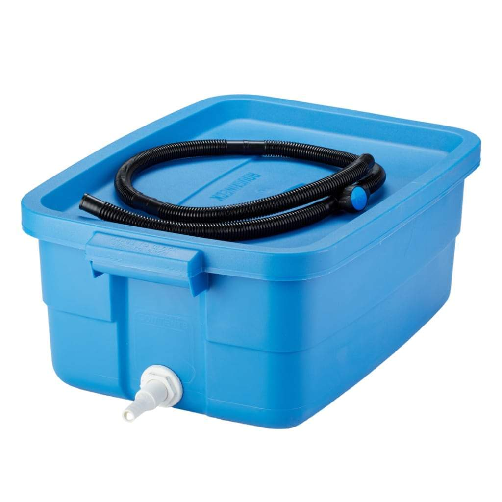Blue roughneck bin with lid, spout with drain hose sitting coiled on top. White background