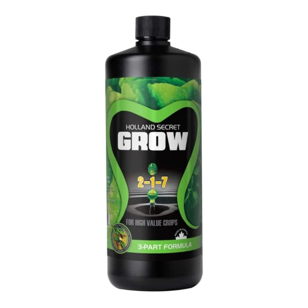Black bottle of Holland Secret Grow nutrients on a white background
