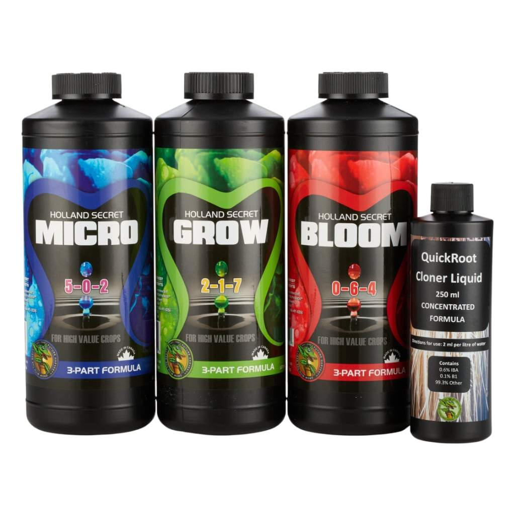 Black bottles of Micro, Grow, Bloom and Cloner Liquid on white background.
