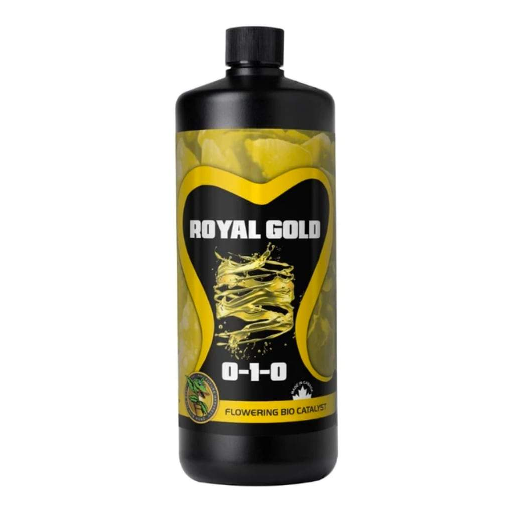 Black bottle of Royal Gold flowering bio catalyst nutrients on a white background