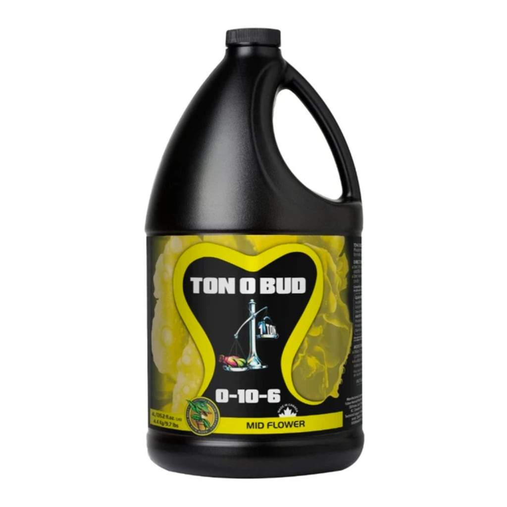 Black 4L bottle of Ton O Bud Mid Flower nutrients. White background.