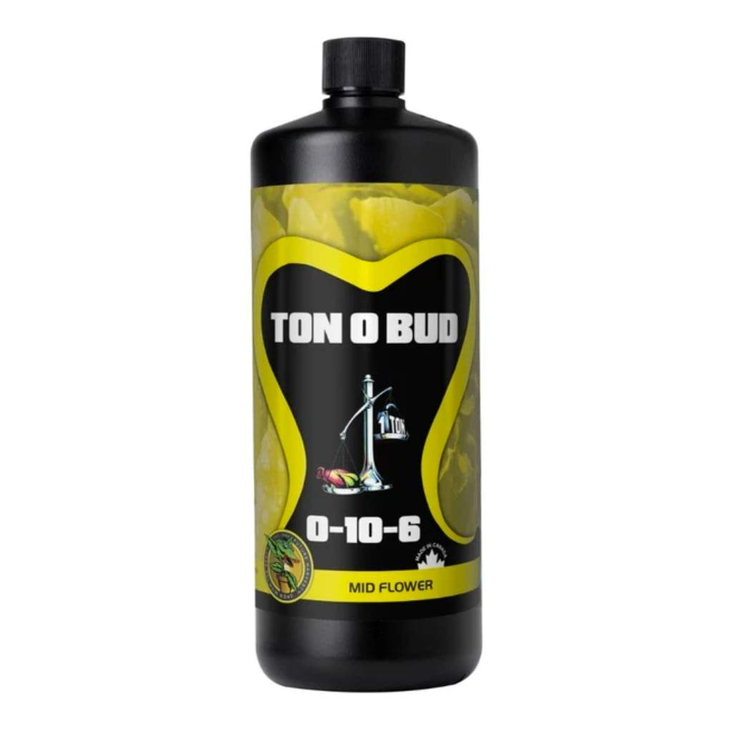 Black bottle of Ton O Bud Mid Flower nutrients. White background.