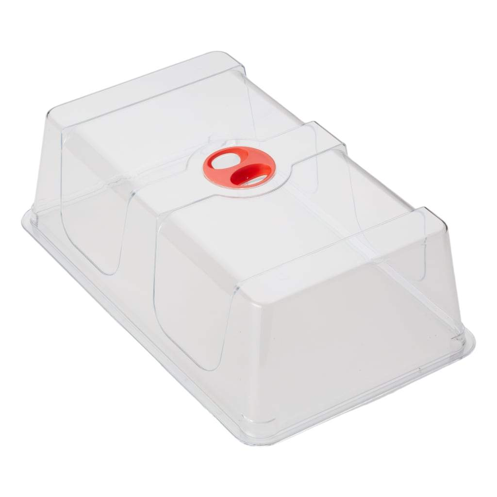 Clear plastic dome for cloning tray. Red handle portion in top center. Used with Bloombox, roommate and mothership. White background.