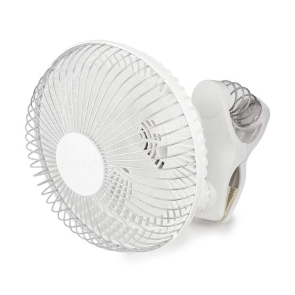 "Closeup of 6"" fan with spring loaded clip attachment. White background"