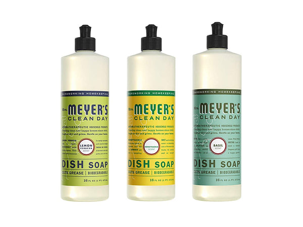 Mrs. Meyer's Clean Day Liquid Dish Soap, 16 oz, Lemon Verbena, Basil, Honeysuckle (Variety Pack)