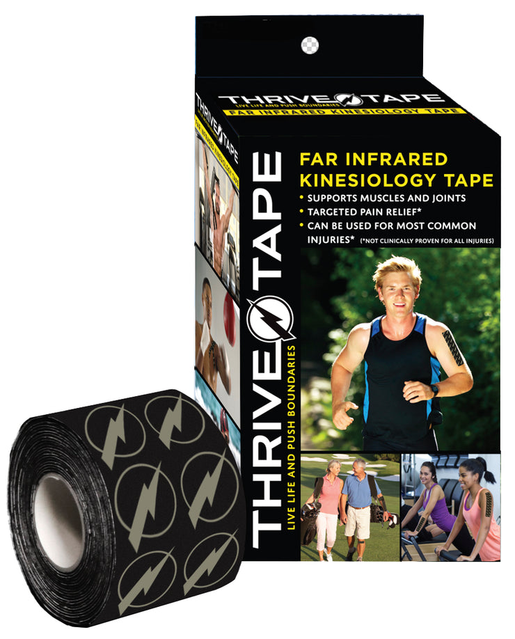 "THRIVE TAPE ""FAR INFRARED"" KINESIOLOGY TAPE (BLACK) - Thrive ""Far Infrared"" Kinesiology-Kinesio Tape  (thrivetape.com)"