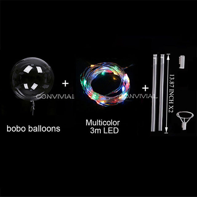 18/24inch Handle Led Balloon Luminous Transparent Helium Bobo Ballons Wedding Birthday Party Decorations Kids LED Light Balloon