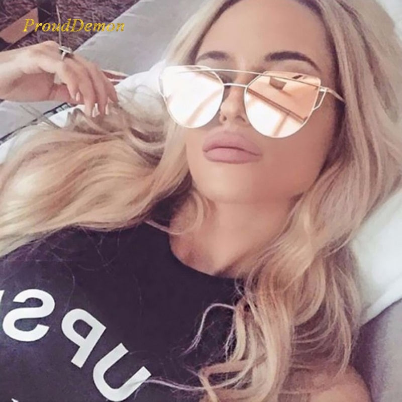 2019 Cat Eye Vintage Brand Designer Rose Gold Mirror Sunglasses For Women Metal Reflective flat lens Sun Glasses Female oculos