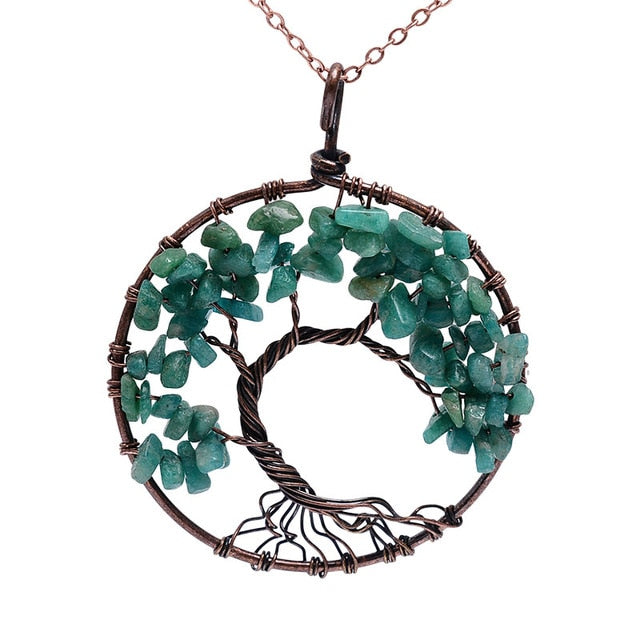 SEDmart 7 Chakra Tree Of Life Pendant Necklace Copper Crystal Natural Stone Necklace Quartz Stones Pendants Women Christmas Gift