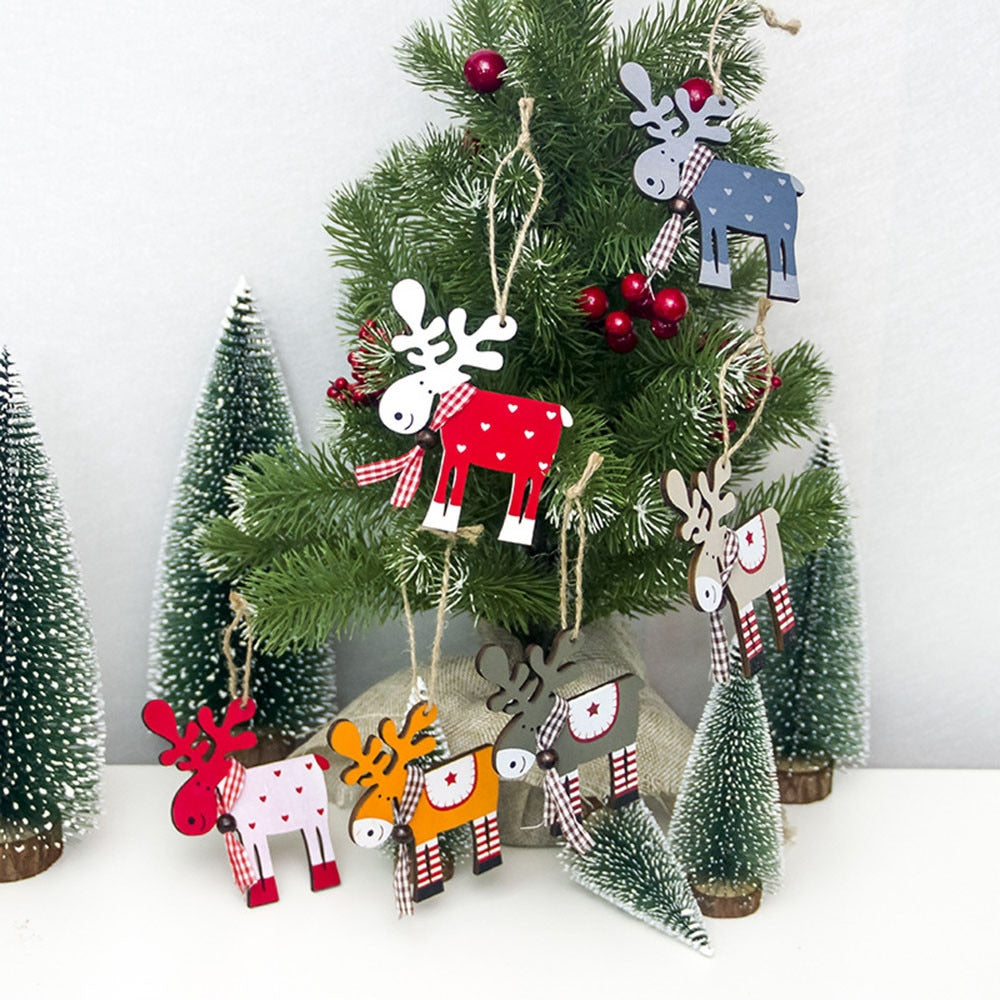 Merry Christmas Decoration for Home Christmas Ornaments Christmas 2018 Deer Wood Elk Pendant Happy New Year 2019 Decor Christmas