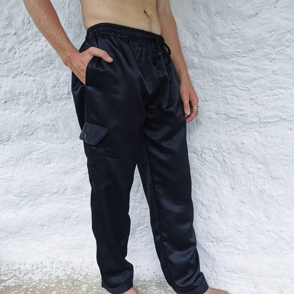 Yin Pants - Straight Leg, Side Pocket - BLACK