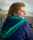 Hoodskif hooded scarf, merino wool, Emerald and Royal/Black Stripe, made in New Zealand