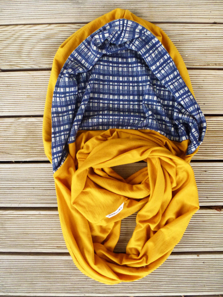 Hoodskif hooded scarf, merino wool, Mustard and Blue Check, made in NZ