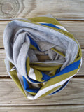 Hoodskif Loop Scarf, merino wool, Olive Grove, Olive and Olive Stripe, made in NZ, $40NZD