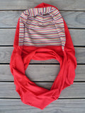 Hoodskif hooded scarf, merino wool, Coral Red and Red Sky Stripe, made in New Zealand