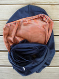 Hoodskif hooded scarf, merino wool, Navy and Rust/Grey Marl Stripe, made in New Zealand