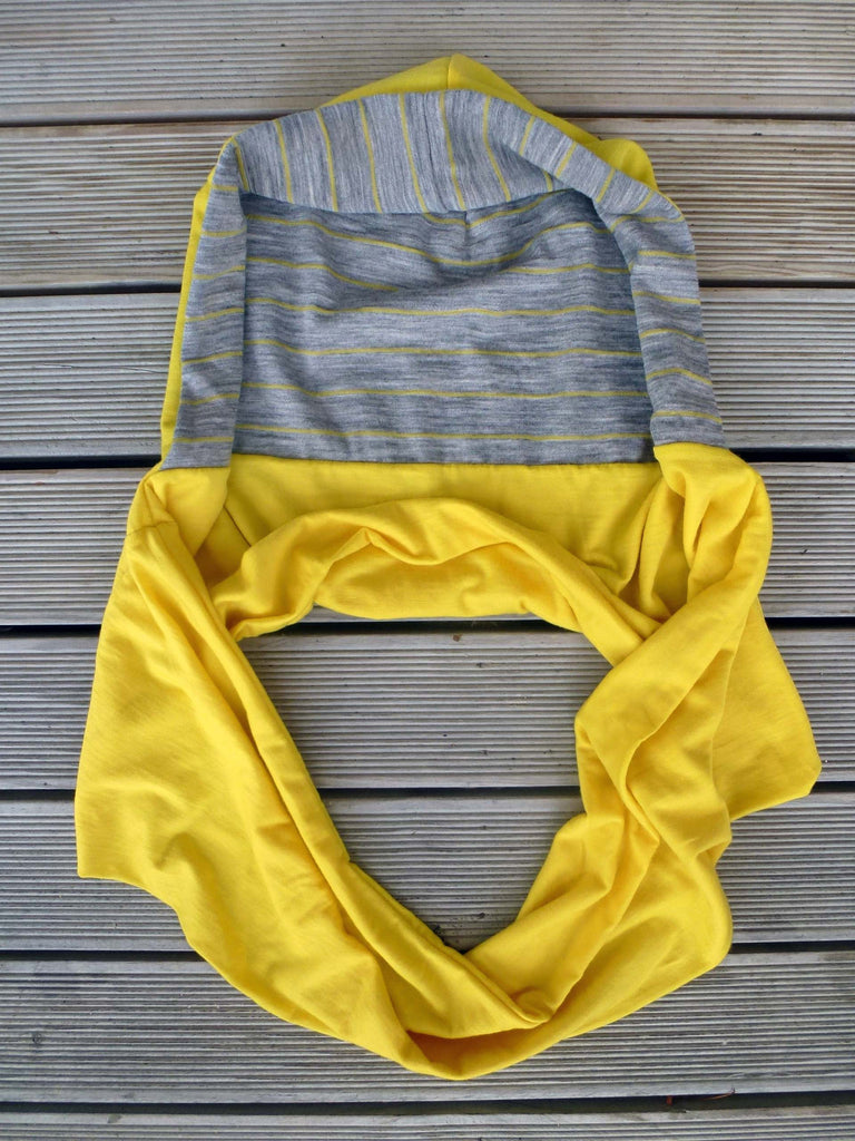 Hoodskif hooded scarf, merino wool, Yellow and Yellow/Grey Marl Stripe, made in New Zealand