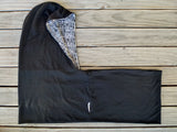 Hoodskif hooded scarf, merino wool, Black and Black and Cream Pattern, made in New Zealand
