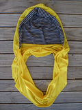 Hoodskif hooded scarf, merino wool, Sunshine Yellow and Navy and Grey Marl Stripe, made in New Zealand