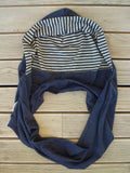 Hoodskif hooded scarf, merino wool, Navy and Forest Green/Grey Marl Stripe, made in New Zealand