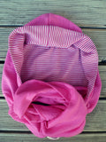 Hoodskif hooded scarf, merino wool, Pink and Pink/White Stripe, made in New Zealand