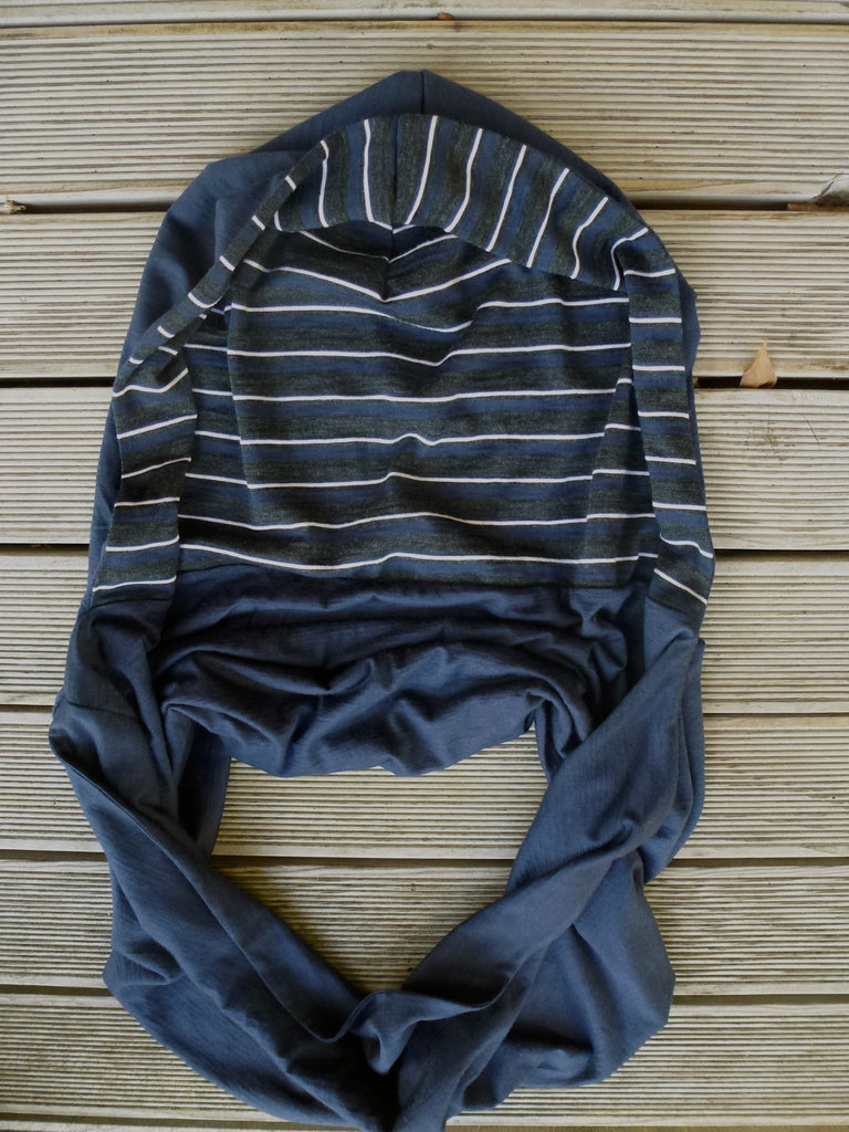 Hoodskif hooded scarf, merino wool, Navy and Navy/Charcoal/White Stripe, made in New Zealand