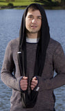 Hoodskif Hooded Scarf, merino wool, Pitch Black, made in NZ