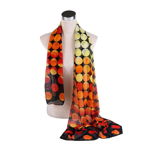 Long Gradient Color Voile Scarf with Dots Print