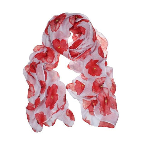 Long Chiffon Scarf with Flower Print