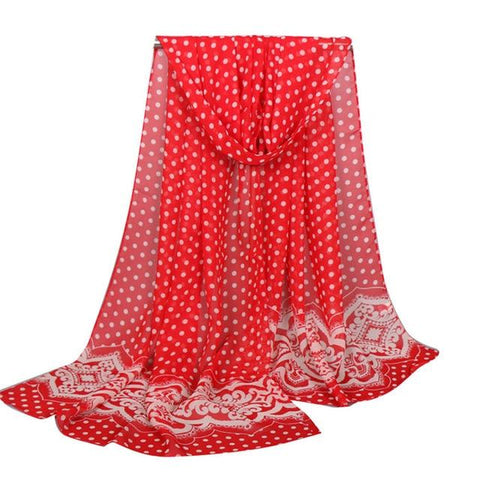 Long Chiffon Scarf with Dotted Pattern