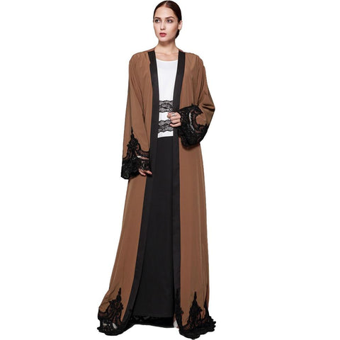 Cardigan Spliced Crochet Lacey Brown Abaya