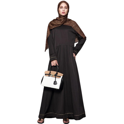 Plain Ruched Black Abaya