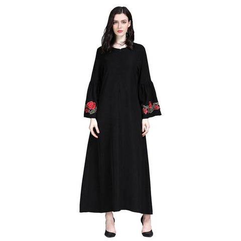 Floral Embroidered Abaya with Flare