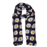 Long Voile Scarves Daisy Flower Print Scarf