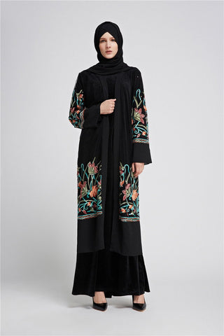 Embroidered Front Open Abaya