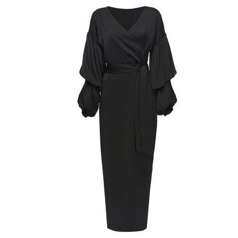 Ruffle Pleated Chiffon Abaya with Puff Sleeves