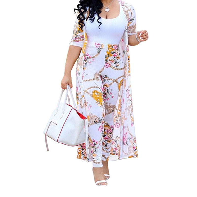Summer 2 Piece Set Women Cardigan Long Trench Tops And Bodycon Pant Suit Casual Clothes Boho Sexy Two Piece Outfits