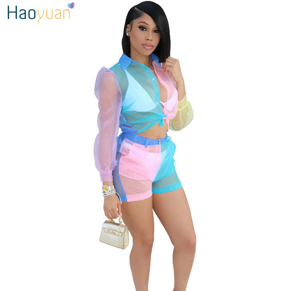 HAOYUAN Contrast Color Mesh Sheer Two Piece Set Women Clothes Long Sleeve Crop Top and Shorts 2 Piece Suit Sexy Club Outfits