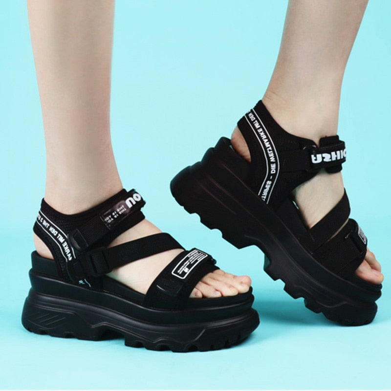 Women Sandals Platform Black Sandal Shoes Nylon Buckle Lettery Beach Wedge High Chunky Heel Sandals Ladies Walking Shoes 2905w