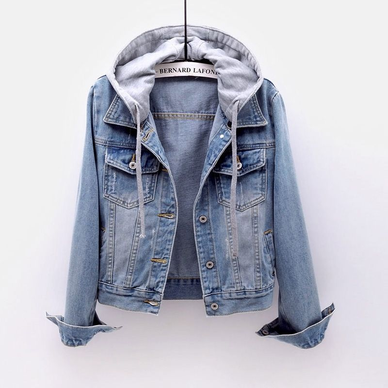 Hoodie Denim Jacket Women Button Basical Full Sleeves Slim Casual Plus Size Student Hoody Coat Spring  Fashion Clothes