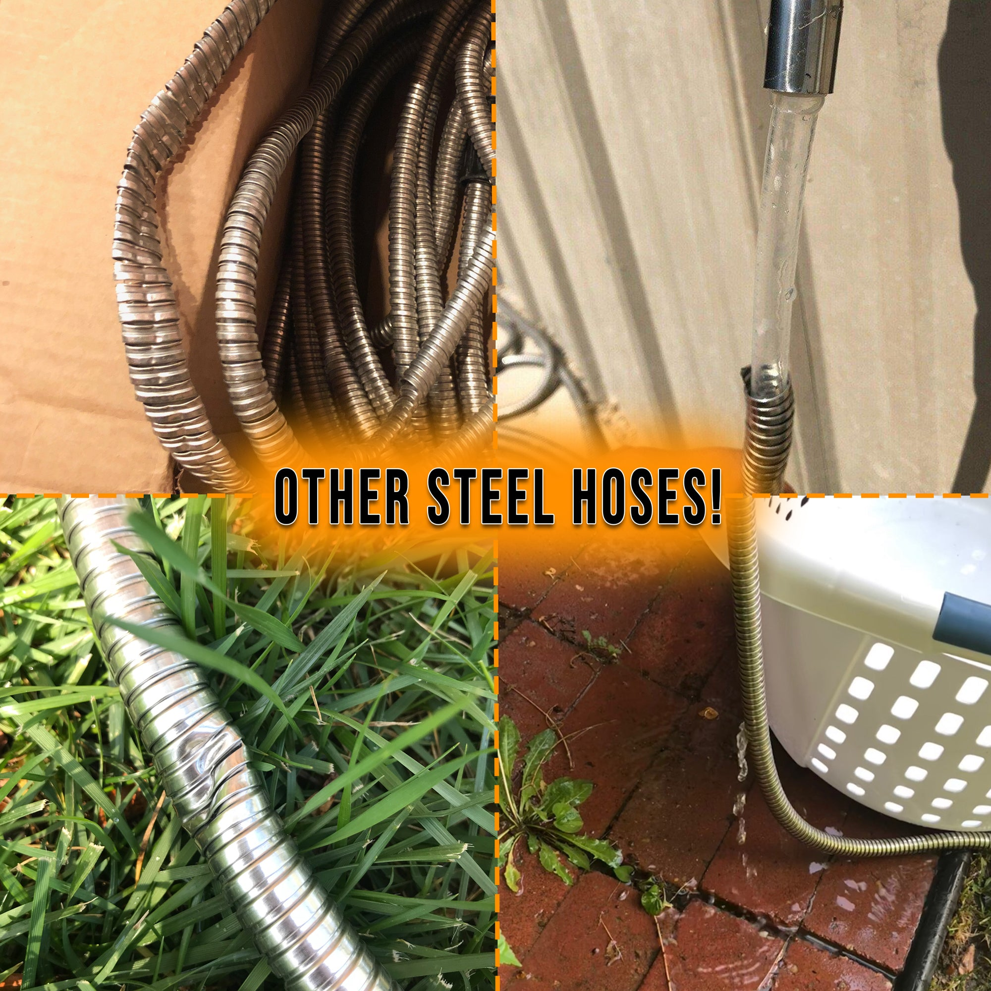 Tardigrade Steel Hose - 25' 304 Stainless Steel Garden Hose - Lightweight, Kink-Free, Strong Heavy Duty, Metal Water Hoses, High Pressure, Durable and Easy to Use