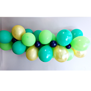 green and gold and navy balloon garland kit