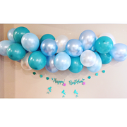 aqua and blue and white mermaid balloon garland kit