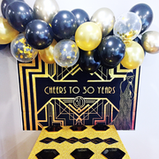 Black and gold balloon garland kit