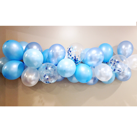 blue and white and silver balloon garland kit