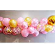 pink and gold balloon garland kit