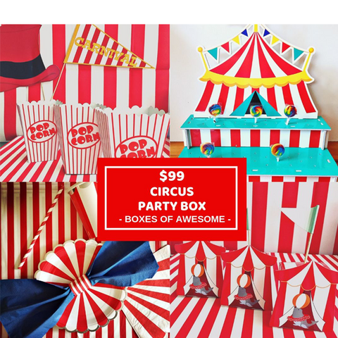 Circus or carnival themed party box